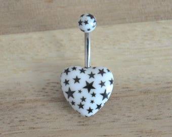 White and Black Star Print Heart Shape Acrylic Belly Button Ring Navel Body Piercing Jewelry