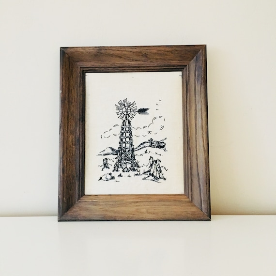 Vintage Windmill Art Black and White Embroidered Linen Framed 70s Wall Hanging Windmill Decor
