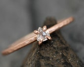 Rose Cut Clear White Diamond on Recycled 14k Rose Gold Hammered Band- Ready to Ship or Custom Made Engagement Ring