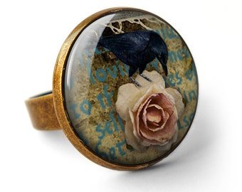 Raven and Pink Rose Ring (RR05)