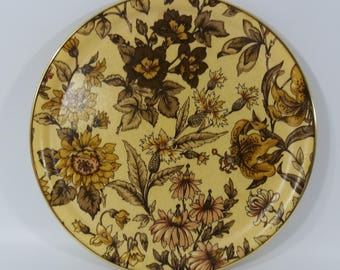 Vintage Round Floral Arnold Design Fibreglass Serving Tray, Retro Drinks Tray, Round Serving Tray