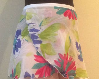 Youth Chiffon Ballet Wrap Skirt - Bold Floral