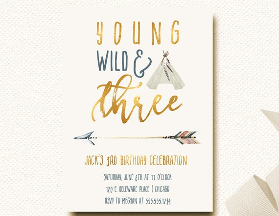 Young wild three birthday invitation boys birthday 3rd tribal young wild three birthday invitation boys birthday 3rd tribal invitations boy teepee arrow invite wild and free filmwisefo Image collections
