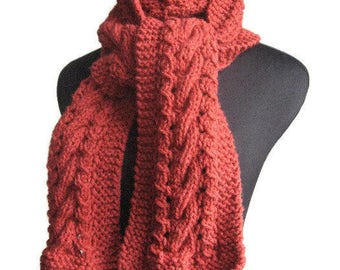 Redwood Heather Cable and Lace Scarf, Knit Vegan Scarf, Red Knitted Scarf, The Stef Scarf, Fall Accessories, Winter Scarf