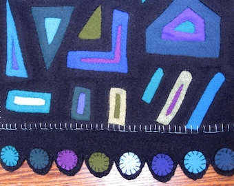 Reverse Applique Penny Rug Table Runner in Cool Hues
