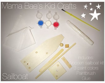 Kids craft paint set wooden sailboat * great for kids holidays parties Father's Day Mother's Day