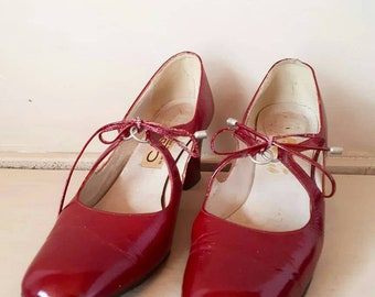 Red Vintage Shoes Cherry Pinup Heels 1960s