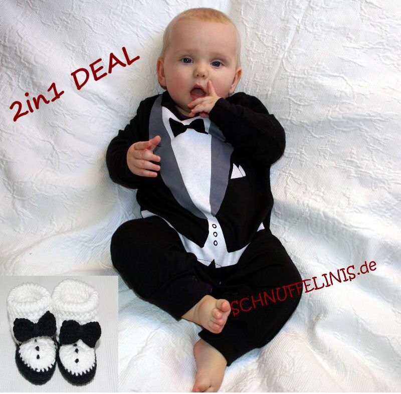Baby boy tuxedo onesie with attached pants tuxedo shoes