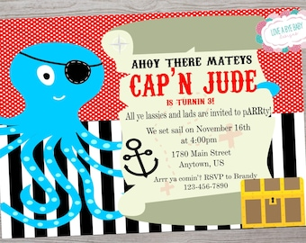 Pirate Octopus Treasure map Birthday Party Invitation printable digital file