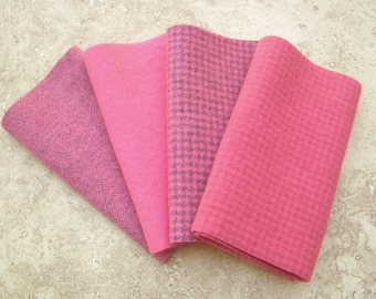 """Hand Dyed Felted Wool,  WATERMELON, Four 6.5"""" x 16"""" pieces in Coral Pink"""