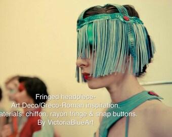Burning Man - ready. Flapper fringe headpiece Art Deco / Greco-Roman inspiration