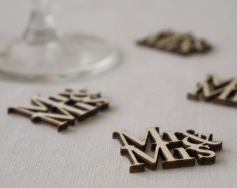 Wedding table confetti. Rustic boho wooden scatter 'Mr & Mrs' decorations. Laser cut out text. L70