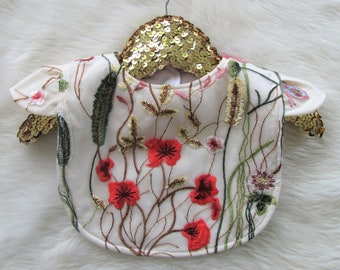 Floral baby bib - embroidered cap sleeve