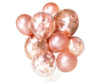 Rose Gold Balloons ( Balloon Bouquet Bundle with Confetti Balloons ) - Copper Fall / Autumn Wedding Decor Ideas