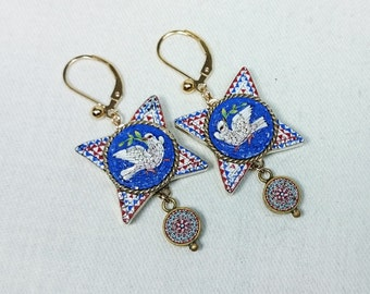 Victorian Micro Mosaic Dove Bird Earrings, 14K Gold Filled, Italy Grand Tour Souvenir
