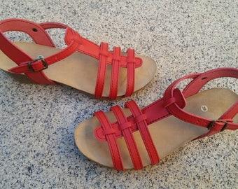 Holidays Sale 20%, Free Shipping, vegan Sandals, foodbet sandals, Summer Shoes, , Straps Sandals  vegan  MODEL AMBERES red