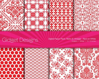 Red Digital Paper Pack Red Scrapbooking Damask Red and White Instant Download Printables