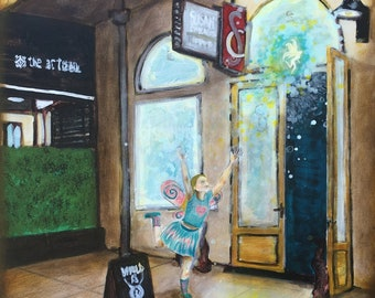 Chasing Fairies Original Painting by Artist Rafi Perez Mixed Medium on Canvas 24X30