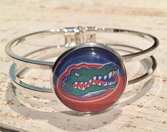 University of Florida Silver Adjustable Cuff Bracelet, College Team Jewelry