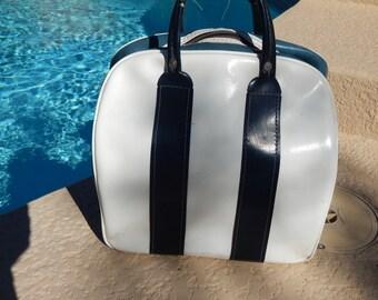 Vintage Brunswick Bowling Bag Blue and White