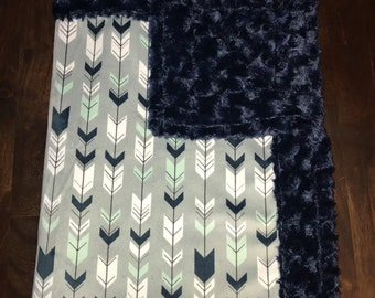 Mint, Navy, Grey Arrows Minky Blanket