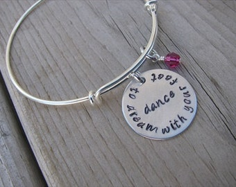 """Dancer Inspiration Bracelet- """"dance to dream with your feet"""" with an accent bead in your choice of colors- Dancing Quote Bracelet"""