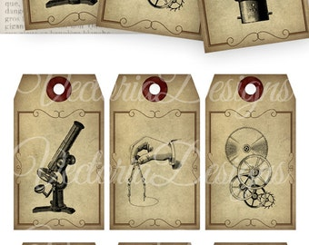 Steampunk Scientist Tags printable gift tags instant download digital Collage Sheet VD0571