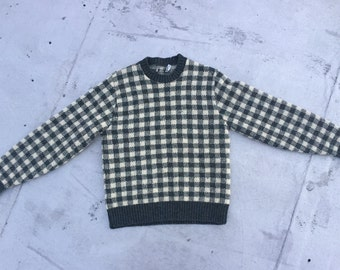 Green and White Checkered Sweater