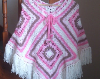 Candyfloss n Ice cream Boho Crocheted Poncho Great for Festivals
