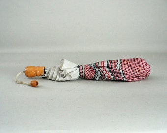 Vintage Umbrella Red White and Blue Nautical Folding Travel Rain / Sun Umbrella