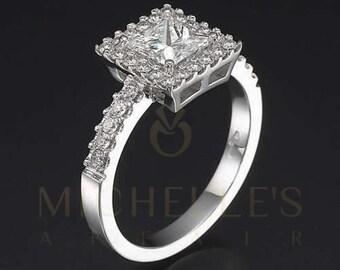 Diamond Engagement Ring With Side Stones 18 Karat White Gold Ladies Princess Cut 2.00 Carat Certified D VS2 Diamond
