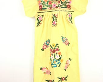 Vintage Embroidered Mexican Cotton Dress Festival Hippie Midi Length '70's S