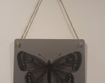 Shabby chic butterfly hanging plaque