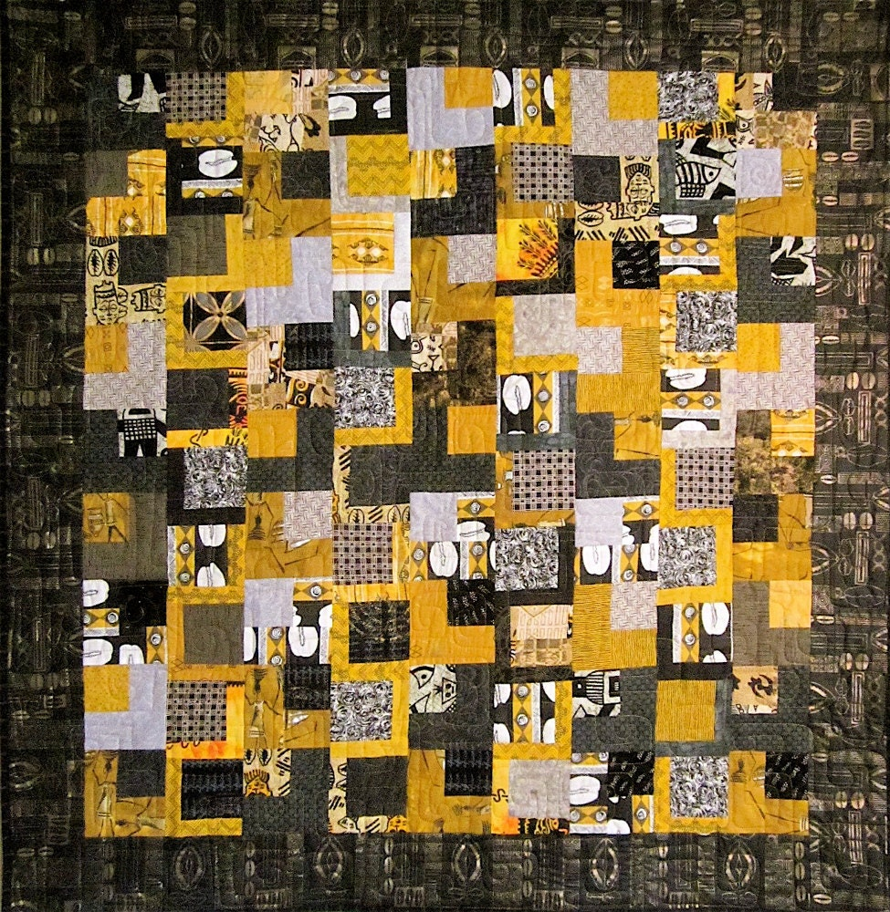 Patchwork Quilt black gray and gold West African wall