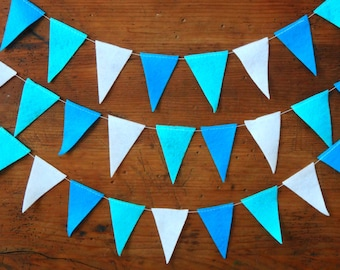 19 ft Felt Pennant Garland, Banner Garland, Blue Felt Garland, Nursery Decor, Blue Party Decoration, Triangle Garland, Bunting Flag Garland