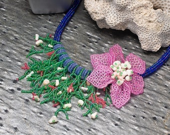 Statement Necklace, Beaded Necklace, Flower Necklace, Ocean, Seed Bead Necklace, Bohemian Necklace, Fringe Necklace, Beaded Jewelry