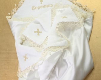 Personalized blanket Christening blanket Embroidered Blanket Baptism blanket with lace Vintage Baby Blanket Gifts for baby