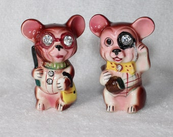 Vintage Lefton Mouse Mice Rhinestone Eyes Salt and Pepper Shakers 1950s