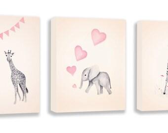 Canvas Art Set, Girl's Nursery Art, Zebra, Giraffe, Elephant, Watercolour Print, Pink and Gray, Baby Girl Gift - S051B