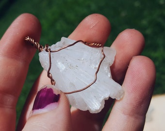 Wire Wrapped Quartz Crystal Pendant