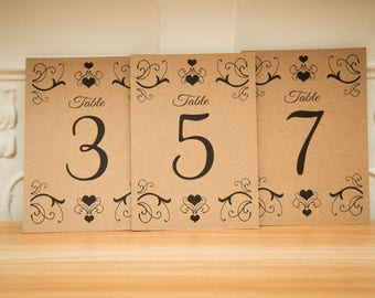 Fancy Kraft Table numbers, pretty wedding decor. Custom Kraft Table numbers.  Kraft wedding centre piece. Design 01. A6 Table Numbers. UK