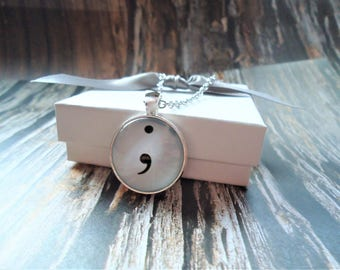 Semicolon Necklace or Key-chain | Funny Gift, Teacher Gift, English Teacher, Language, Punctuation Mark