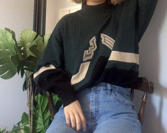 Green Sweater :  Unique Sweater, Sweater Dress, Vintage Sweater