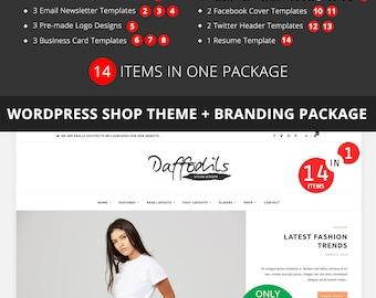 Daffodils Wordpress Shop Template Bundle with Branding Package  - Wordpress Template - Responsive WordPress Blog Theme - Matching Template