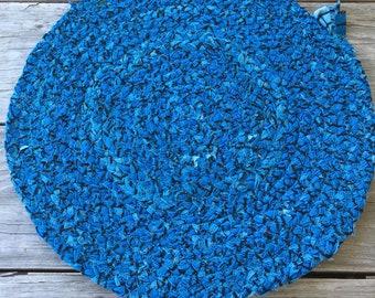 Braided Fabric Trivet Blue Black (13 1/2 inches)