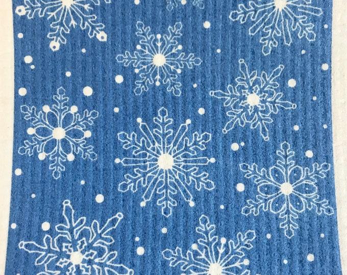Blue Snowflake Swedish Cloth