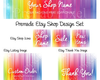 Rainbow Etsy Banner Set, Cover Photo Banner, Colorful Etsy Banner, Colorful Shop Banner, Rainbow Etsy Shop Design, Shop Cover
