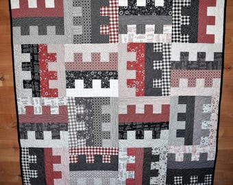 """Lap Quilt, Baby blanket, Modern, """"Key To My Heart"""", READY TO SHIP, red, black, gray, white prints, plaid, crib quilt, Free Shipping"""
