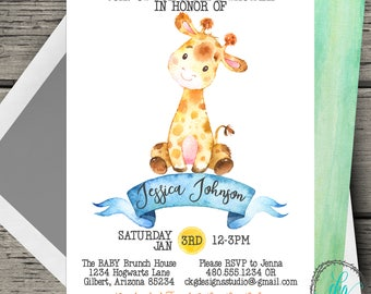 Giraffe Baby Shower Invitation Girl Invitation Giraffe Baby