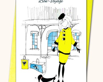 Bon voyage, Retirement, handmade, Personalised card